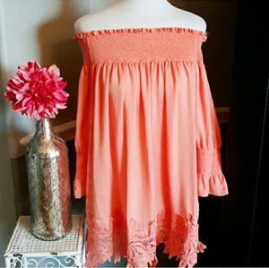Boho Umgee Silk Off Shoulder  Dress